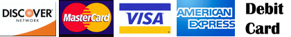 master Card, Visa, Discover, Debit, American Express